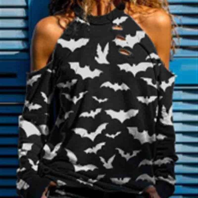 Halloween Skull Print Casual T-shirt Hot Rhinestone Strapless Hole Long Sleeve Black Top 2021 Women T Shirt Plus Size S-3XL