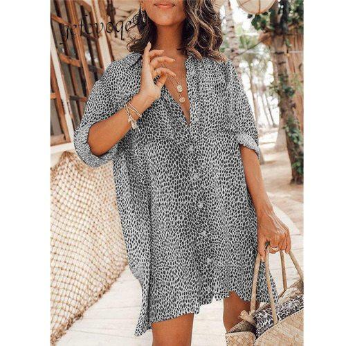 2021 Summer Women Shirts Dress Loose Long Sleeve Button Up Mini Dress Leopard Printed Oversized Vestidos Casuales Beach Dresses
