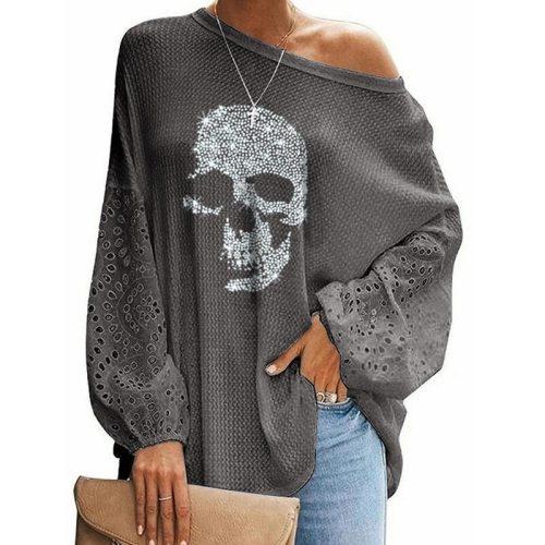 New Large Size Tshirts Tops Women Skeleton Printed Loose Shirts Stitching Ladies Tshirt Long Sleeve Casual T-shirt