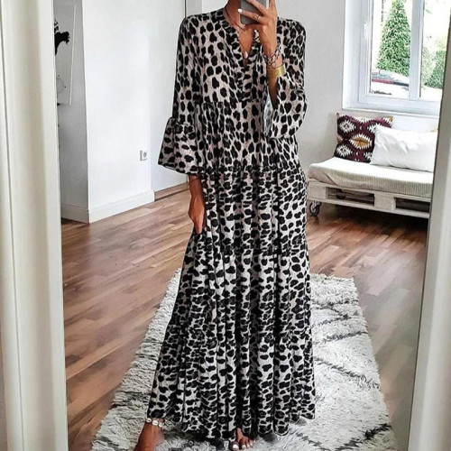 Leopard Dress Women Maxi V Neck Boho Long Sleeve Woman Dress 2021 New Long Casual Party A-Line Autumn Dresses Women Vestidos