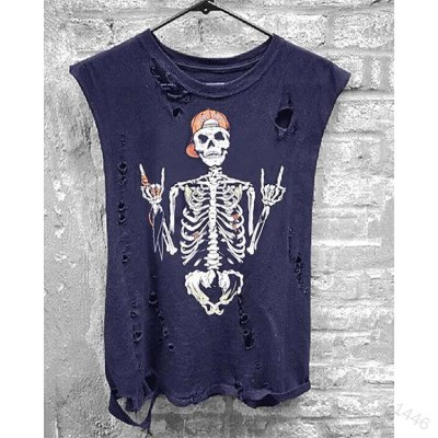 2021 Summer Skull Print T Shirt Casual Women Punk Sleeveless Hole High Stree Tees Female Mujer T-Shirts Tops Plus Size 3XL