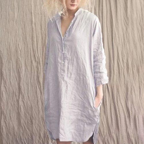 Women Loose V Neck Ruched Shirt Dress 2021 Spring Summer 3/4 Sleeves Pocket Button Casual Cotton Linen Leisure Wear Long Dress