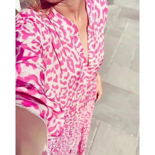 Leopard Women's Dress Half Sleeve Pink Casual Maxi Dress Woman Spring Ruffles Long Dresses for Women 2021 Party Robe Femme New