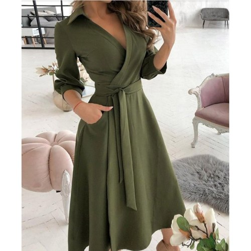 Sashes Summer Dress Women Casual Long Sleeve Woman Dress Loose A-Line Solid Maxi Shirt Dresses for Women 2021 robe femme