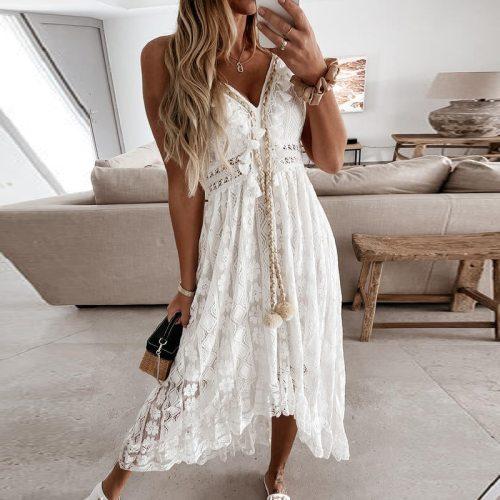 2021 Women Sexy V Neck Tassel Long Dress Summer Sleeveless Off Shoulder Party Dress Elegant Hollow Out Crochet Lace Beach Dress