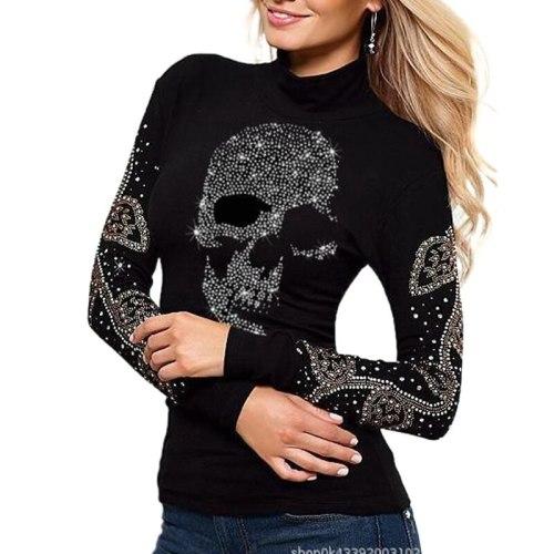 Skull T Shirt Women Diamonds Sequined Tshirt Plus Size Round Neck Tops for Women Full Sleeve