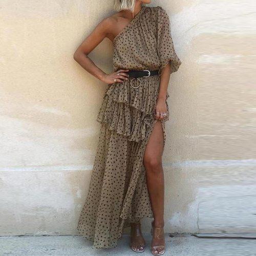 2021 Elegant Women Skew Collar Chiffon Beach Dress Sexy Off Shoulder Irregular Party Dress Summer Short Sleeve Ruffle Long Dress