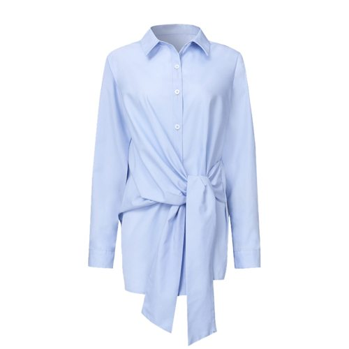 Fashion Women Shirt Blouse Long Sleeve Ruched Solid Color Blouse For Office Ladies White Blue Black Autumn Shirt