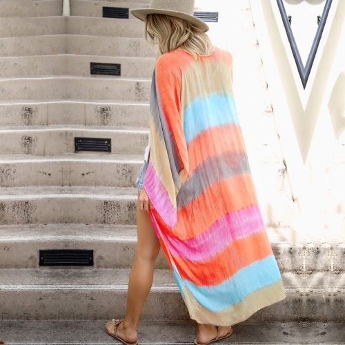 2021 Multicolored Striped Full Sleeve Long Kimono Plus Size Street Wear Summer Clothing For Women Tops and Blouses Shirts A828