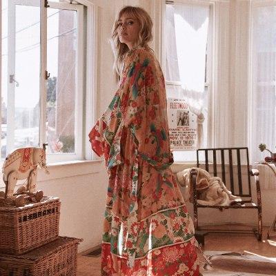2021 Vintage Floral Print Long Kimono Plus Size Elegant Street Wear Summer Clothing For Women Tops and Blouses Boho Shirts A837