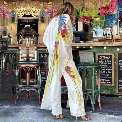2021 Boho Parrot Printed Bikini Dress White Chiffon Tunic Plus Size Long Kimono Women Beach Wear Swim Suit Dresses A875