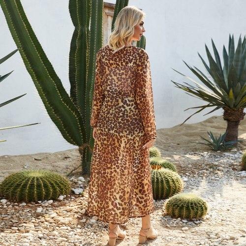 2021 New Leopard print Chiffon Kimono swimwear Beach long hot cover-up Bohemian free people lady style light buttoncoat cardigan