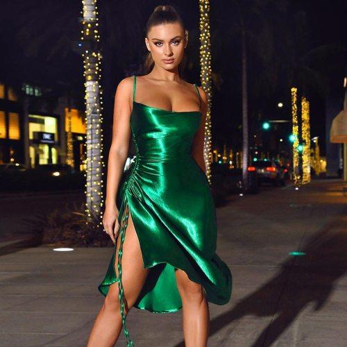 Satin Women's Dress Sleeveless Side Split Autumn Sexy Slim Bodycon Casual Fashion Elegant Party Dresses Female 2020