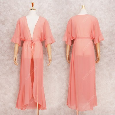 2021 Sexy See Through Bikini Cover-ups Pink Chiffon Tunic Long Kimono Women Summer Wrap Dress Beach Wear Swimsuit Cover Up Q1256