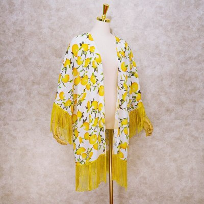 2021 Vintage Printed Fringed Tunic Long Kimono Plus Size Sexy Beach Wear Summer Clothing For Women Tops and Blouses Shirts A801