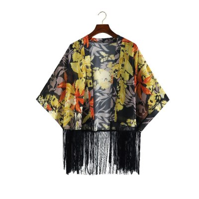 2021 Vintage Printed Fringed Tunic Long Kimono Plus Size Sexy Beach Wear Summer Clothing For Women Tops and Blouses Shirts  A799