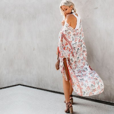 2021 Elegant Floral Print Full Sleeve Long Kimono Plus Size Street Wear Summer Clothing For Women Tops and Blouses Shirts A829