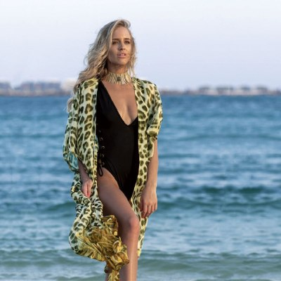 2021 Yellow Leopard Chiffon Tunic Long Kimono Plus Size Sexy Beach Wear Summer Clothing For Women Tops and Blouses Shirts A804