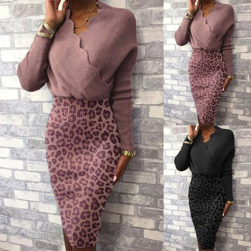 S-3XL Women Autumn Winter Long Sleeve V Neck Leopard Patchwork Bodycon Party Dress Winter Dresses Women Casual Pencil Vestidos