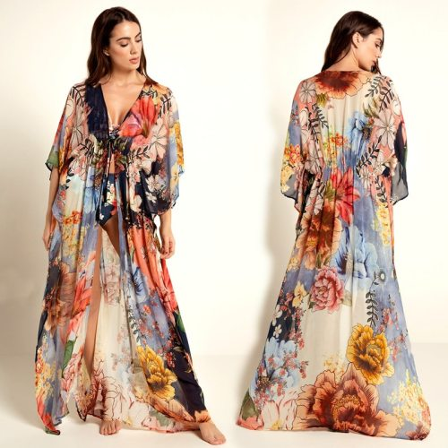 2021 Multicolored Bohemian Floral Printed Long Kimono Cardigan Tunic Women Plus Size Beachwear Clothes Tops Blouse N1030