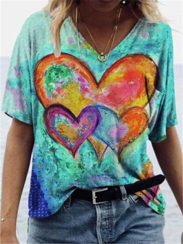 Heart Print Tshirt Women Elegant Graphic Tee Summer 2021 Female Streetwear Vintage Aesthetic Clothes Short Sleeve Casual Y2k Top