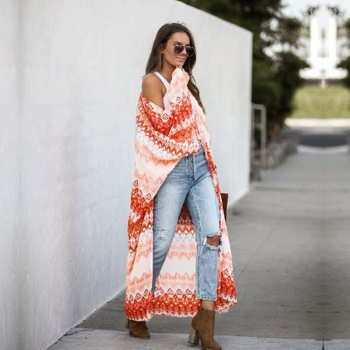 2021 Bohemian Striped 3/4 Sleeve Front Open Long Kimono Plus Size Summer Clothing Streetwear Women Tops and Blouses Shirts A805