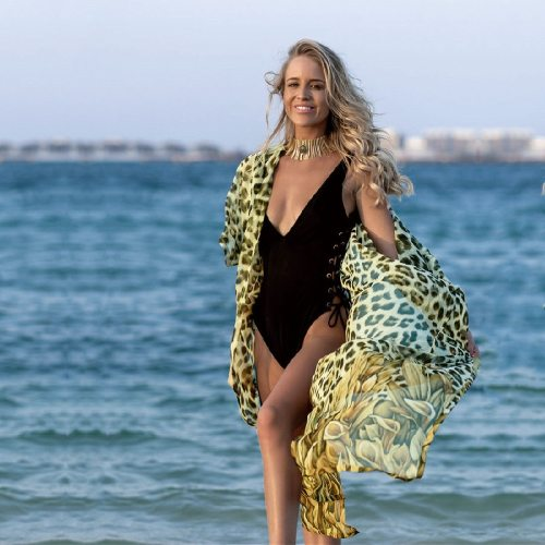 2021 Yellow Leopard Chiffon Tunic Long Kimono Plus Size Sexy Beach Wear Summer Clothing For Women Tops and Blouses Shirts A804