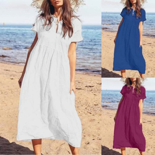 2021 Women Button Hollow Sexy Long Maxi Dress Celmia Casual Loose Solid Robe Beach Pleated Vestidos Mujer Plus Size Dress