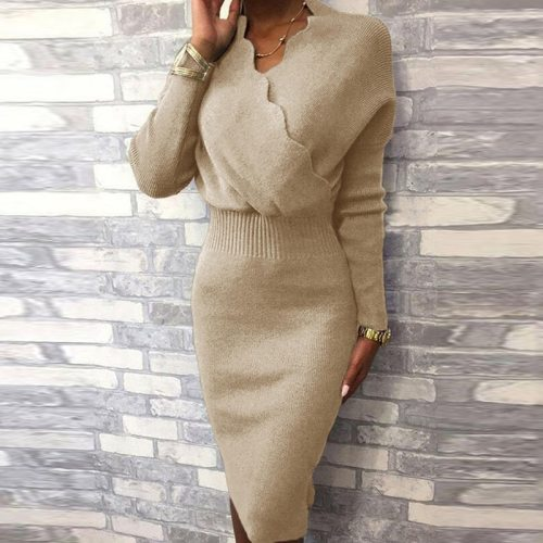 Women's V Neck Long Sleeve Solid Color Slim High Waist Sheath Bodycon Dress Women Casual Party Knitted Dresses Vestidos