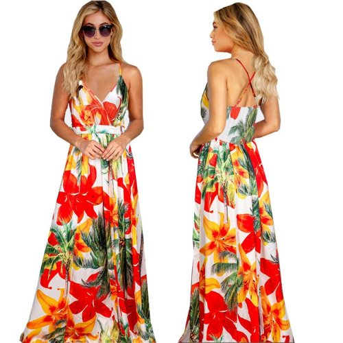 Women Sling Floral Long Dresses Summer V-Neck Backless Floarl Print Party Beach Boho Maxi Dress Sexy Party Sundress Lady Vestido