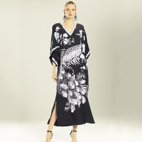 New Quick-drying Peacock Pattern Robe Beach Beach Dress  Swimsuit Peacock Cover Up Bikini Cover Up Vacation