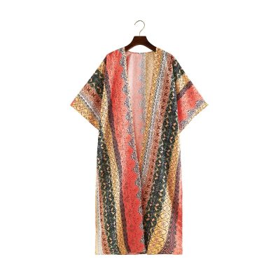 2021 Bohemian Striped Half Sleeve Front Open Long Kimono Plus Size Summer Clothing Streetwear Women Tops and Blouses Shirts A795