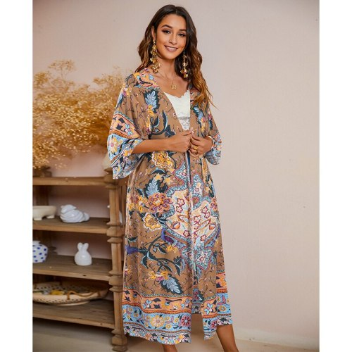 Boho Printed Half Sleeve Front Open Plus Size Long Kimono Retro Summer Clothing For Women Tops and Blouses Vintage Shirts A855