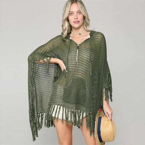 New Cover Up Beach Women Swimwear Hollow Crochet Bikini Cover Ups Loose Tassels Pareos Dolman Sleeve Beachwear