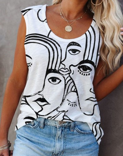 Vintage Graffiti Abstract Face Fun Tanks Camis Women Sleeveless Shirts Summer Tops 2021 New Streetwear Fashion Ladies Loose Tees