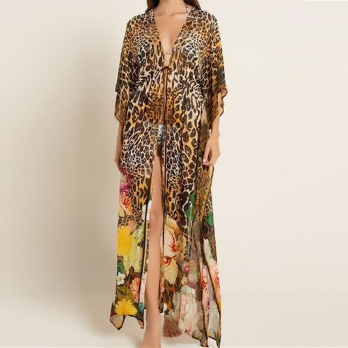 2021 New Leopard Printing Bikini Cover Up Sexy Loose Tunic Beach Dress Women Pareo Long Chiffon Cardigan Beach saida de praia