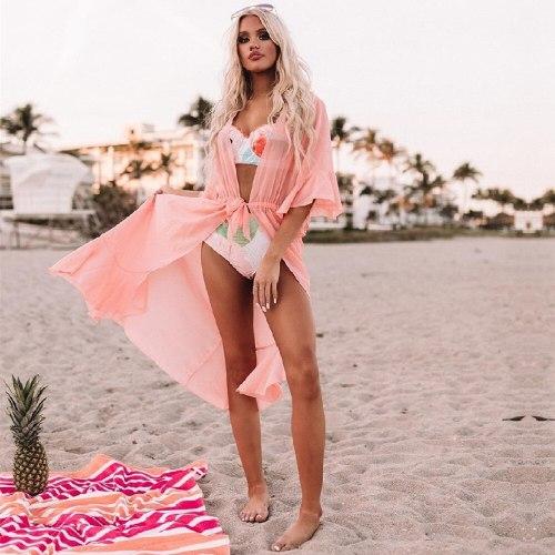 2021 Sexy See Through Bikini Cover-ups Pink Chiffon Tunic Long Kimono Women Summer Wrap Dress Beach Wear Swimsuit Cover Up Q1256