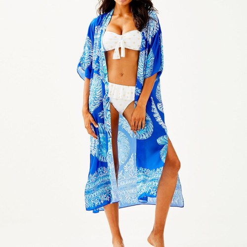 Print Cotton Beach Cover up Kimono Plage Vestido Playa 2021 Bathing suit Cover ups Swimwear Cover-up Dress for Beach Sarong