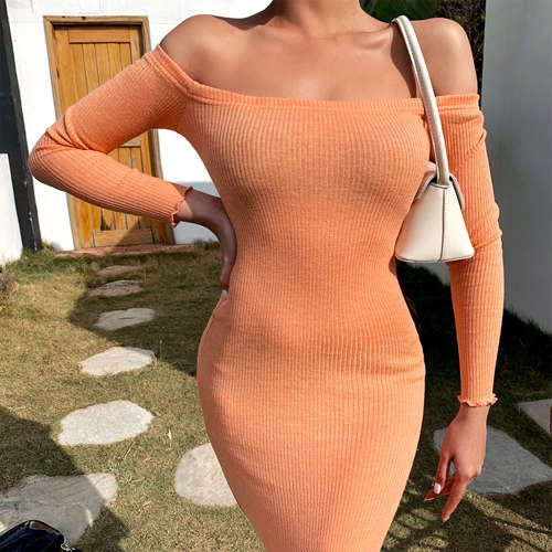 New Women Slim Ribbed Dress  Adults Sexy Long Sleeve Boat Neck Off-The-Shoulder One-Piece Purple Grey Orange S M L