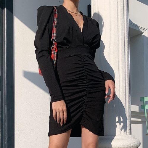 Spring Fashion Slim Sexy Party Solid Color Long Puff Sleeve SML V-neck 6 Colors Woman Casual Pleated Dress Lady Mini Dress