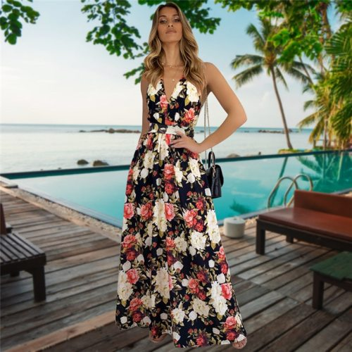Women's V Neck Suspender Dresses 2021 Spring Summer New Sleeveless Hight Waist Floral Printed Long Dresses For Fashionable