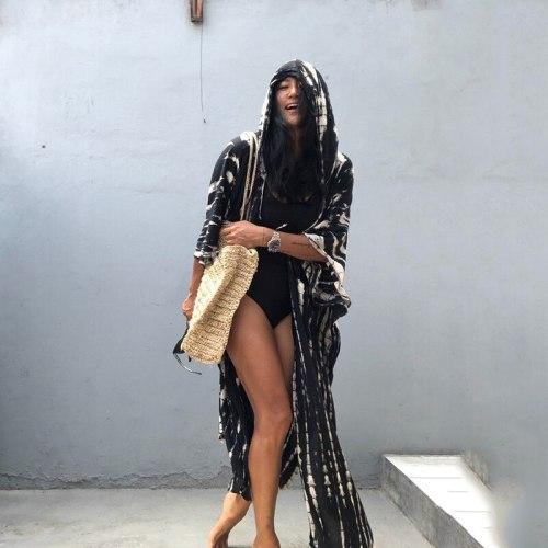 2021 Bohemian Striped Fashion Women's Clothing Hooded Long  Batwing Sleeve Split Plus Size Street Wear Summer Blouse Shirt A747