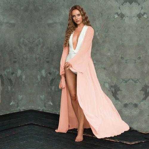 2021 Sexy Red Long Chiffon Tunic Elegant Self Belted Plus Size Kimono Dress For Women Summer Beach Wear Wrap Maxi Dresses A802