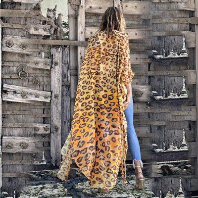 2021 Yellow Boho Leopard Printed Chiffon Bikini Cover-ups Plus Size Beach Wear Kimono Dress Women Summer Swimsuit Cover Up A865