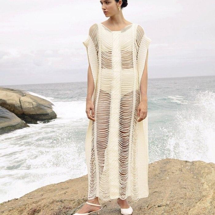 Sexy Beach Cover up Dress 2021 Beachwear Hollow out Thread Women Maxi Dress BeachTunic Bikini Cover up Sarong Swimwear Dresses