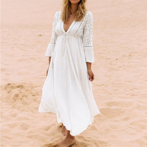 Women Lace Crochet Bikini Cover Up Long Beachwear Pareo Beach Tunic Dress White Sexy Robe Cotton Bathing Suit Kaftan