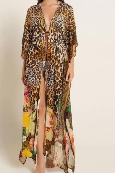 2021 New Leopard Printing Bikini Cover Up Sexy Loose Tunic Beach Dress Women Pareo Long Chiffon Cardigan Beach saida de praia