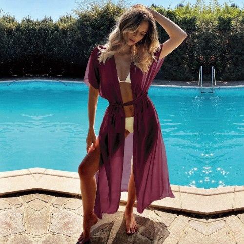 2021 Sexy Red Long Chiffon Tunic Elegant Self Belted Plus Size Kimono Dress For Women Summer Beach Wear Wrap Maxi Dresses A803