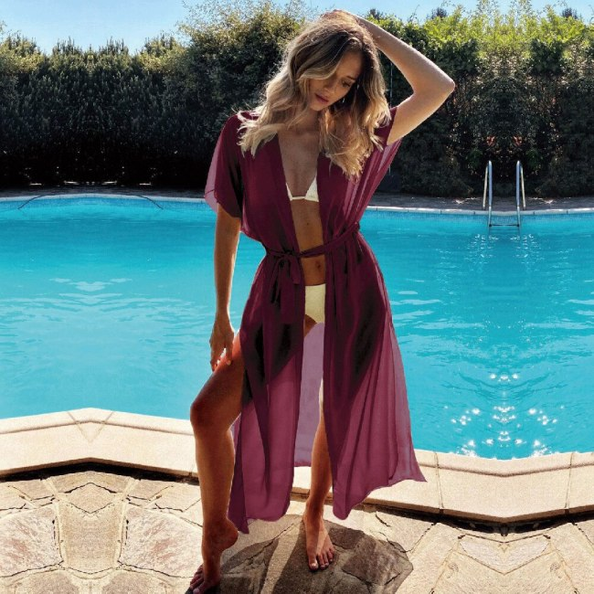 2021 Sexy Red Long Chiffon Tunic Elegant Self Belted Plus Size Kimono Dress For Women Summer Beach Wear Wrap Maxi Dresses A803