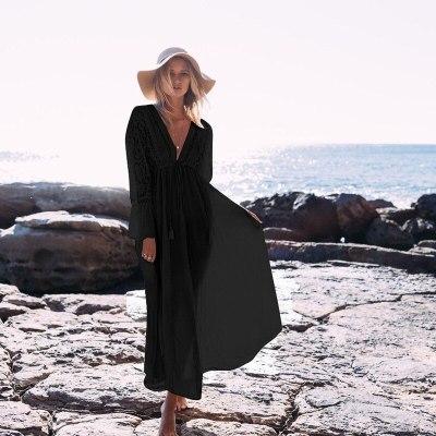 Women Lace Crochet Bikini Cover Up Long Beachwear Pareo Beach Tunic Dress White Sexy Robe Cotton Bathing Suit Kaftan